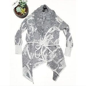 🎉BCBGMaxZzria Knit Tie Crochet Gray Cardigan🎉